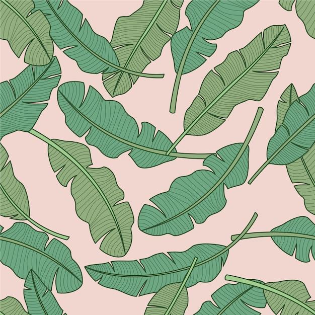 熱帯の葉のシームレスパターン Premiumベクター