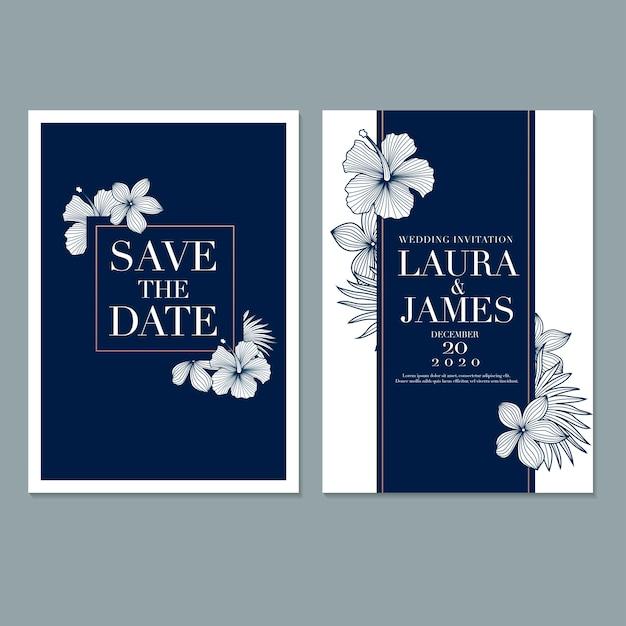 花の結婚式の招待カードテンプレート Premiumベクター