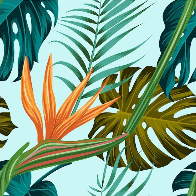 シームレスな花柄の葉と熱帯の背景 Premiumベクター
