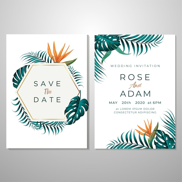 結婚式招待状のテンプレート、葉&花の背景 Premiumベクター