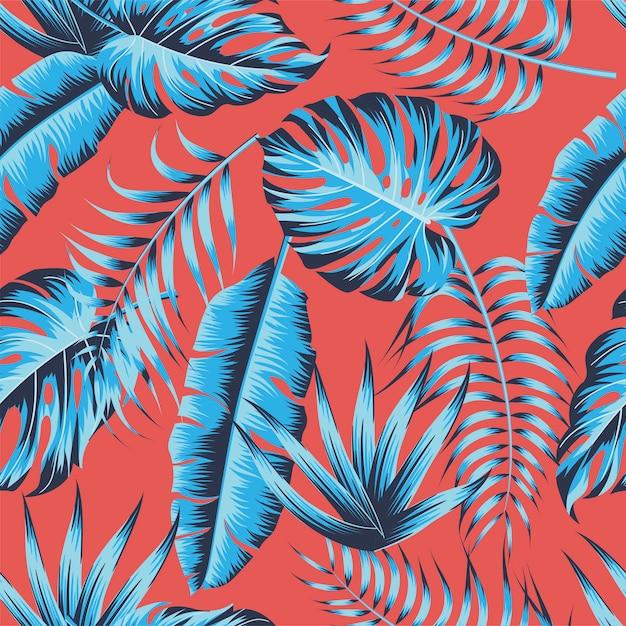 Тропические листья, листья джунглей бесшовные векторные цветочный узор фона Premium векторы