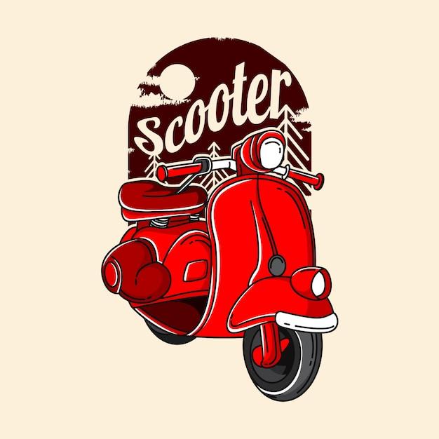 Иллюстрация красный скутер Premium векторы