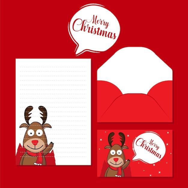 創造的なクリスマスの手紙と封筒のテンプレート Premiumベクター