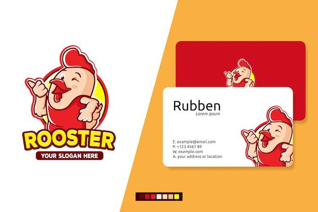 Петух логотип мультипликационный персонаж Premium векторы