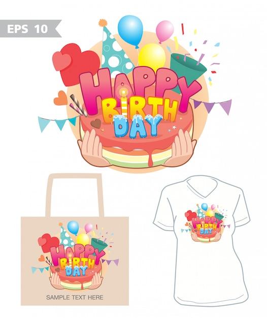 お誕生日おめでとうグラフィックバッグとシャツのベクトル Premiumベクター