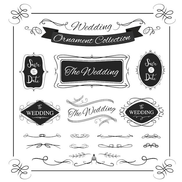 ビンテージデザインの装飾的なバナー結婚式書道フレームバナー Premiumベクター