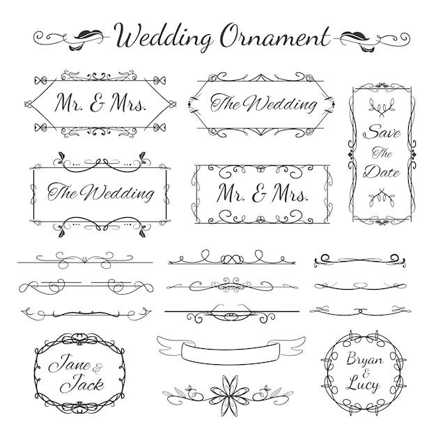 Коллекция свадебных украшений со старинным декоративным и цветочным дизайном Premium векторы