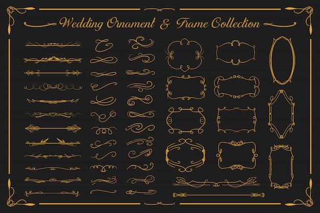 結婚式の豪華な金の飾りとビンテージフレームコレクションは招待状などに設定 Premiumベクター
