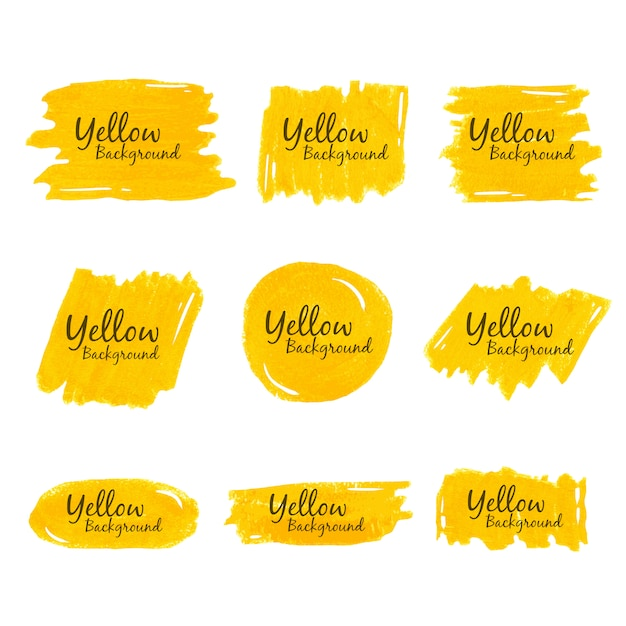 黄色のクレヨンの水彩画の背景 Premiumベクター