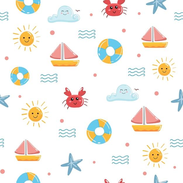 Симпатичные лето каваи бесшовный узор вектор океана. Premium векторы