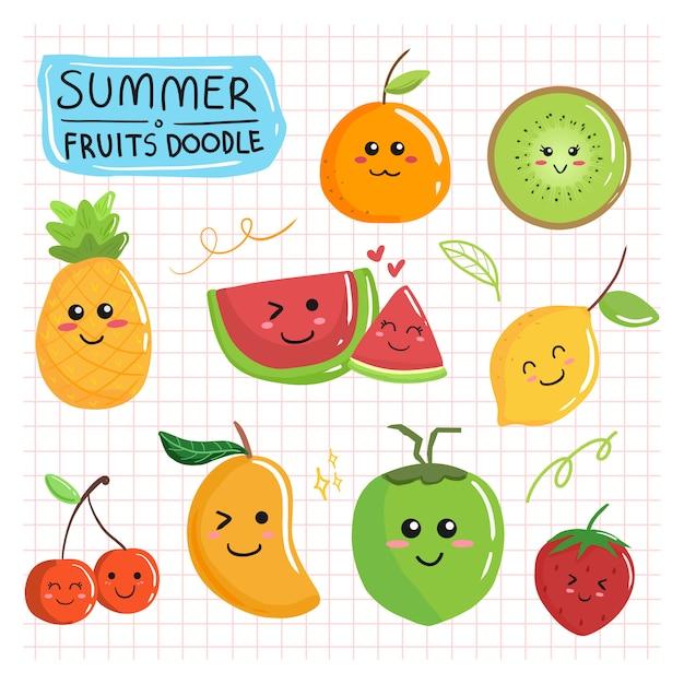 かわいい夏のフルーツ落書きコレクション漫画セット描画漫画 Premiumベクター