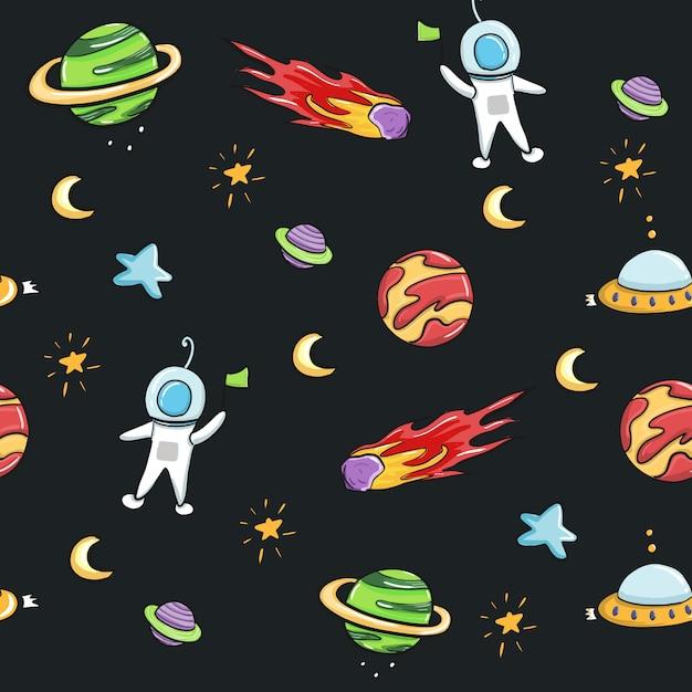 宇宙飛行士と銀河のシームレスなパターン設計の布地と印刷物。 Premiumベクター