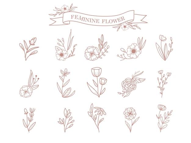 花と葉の飾り Premiumベクター