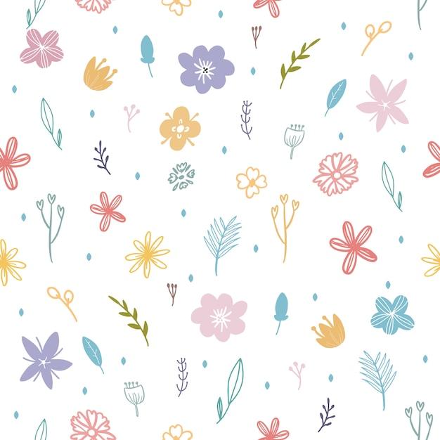 カラフルな春の花と葉のシームレスパターン Premiumベクター