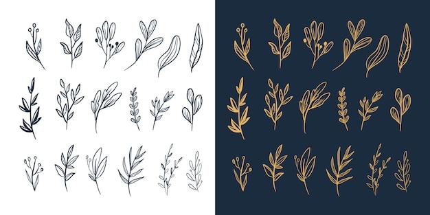 手描きの花と葉の葉ベクター新しい大きなセット Premiumベクター