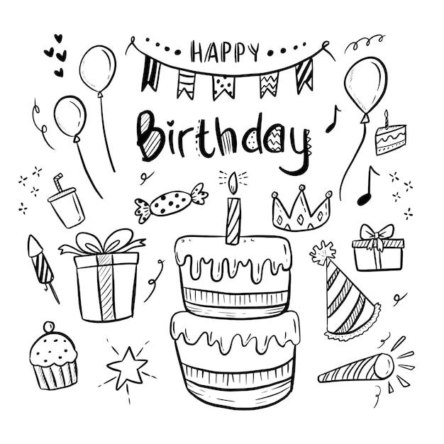 お誕生日おめでとうレタリングとかわいい図面落書き設定イラスト Premiumベクター