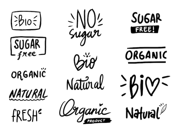 Здоровая диета без сахара коллекция этикеток большой набор Premium векторы