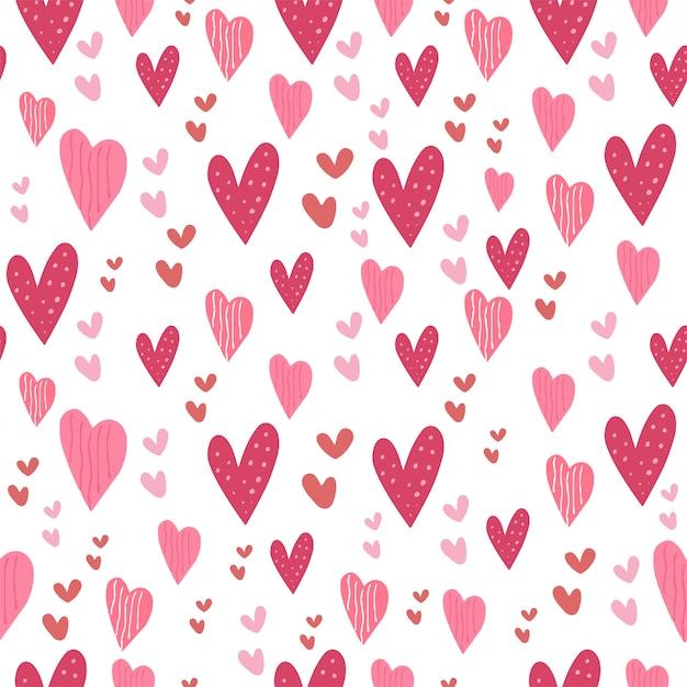 愛心ピンクシームレスパターンかわいいコレクション Premiumベクター