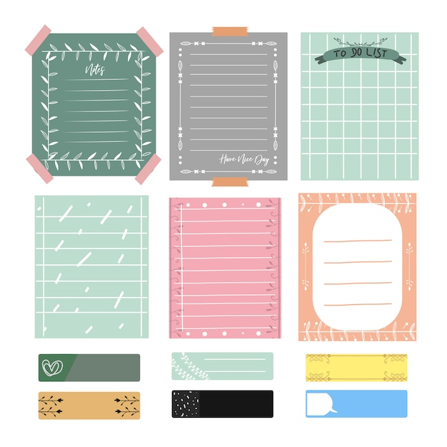 かわいいメモと雑誌。ロマンチックでかわいいベクトルカード、メモ、ステッカー、ラベルのセット。 Premiumベクター