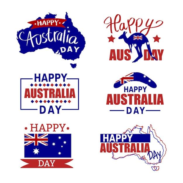 オーストラリアのバッジが設定されます。オーストラリアのアイコンセット、旗、カンガルー。オーストラリアの地図と旗 Premiumベクター