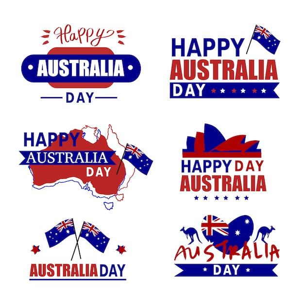 オーストラリアの日バッジ。オーストラリアのアイコンセット、カンガルー。ハッピーオーストラリアデー。オーストラリアの地図 Premiumベクター