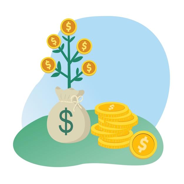 木のお金のコインとお金の袋 Premiumベクター