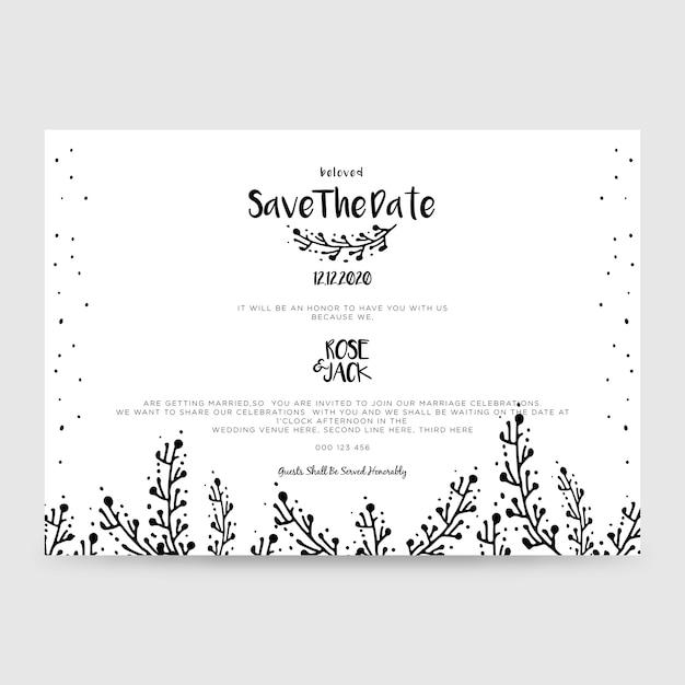 Свадебная пригласительная карточка, сохранить дату Premium векторы