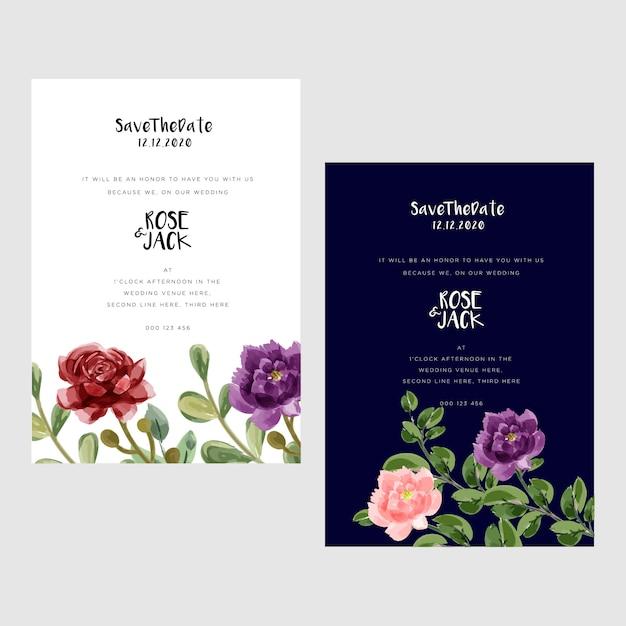 Современные свадебные открытки с акварелью Premium векторы