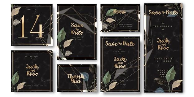 豪華な黒と金色の結婚式の招待状 Premiumベクター