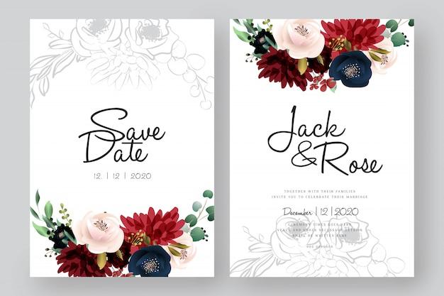 ブルゴーニュと赤面の花の結婚式のカード Premiumベクター