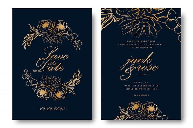 金箔の結婚式の招待状 Premiumベクター