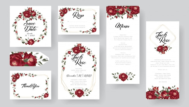 ブルゴーニュの結婚式の招待カードコレクション Premiumベクター