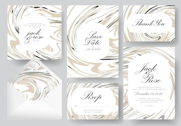 抽象的な結婚式の招待カードコレクション Premiumベクター