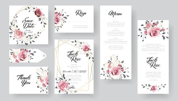 モダンな花の結婚式の招待カードコレクション Premiumベクター