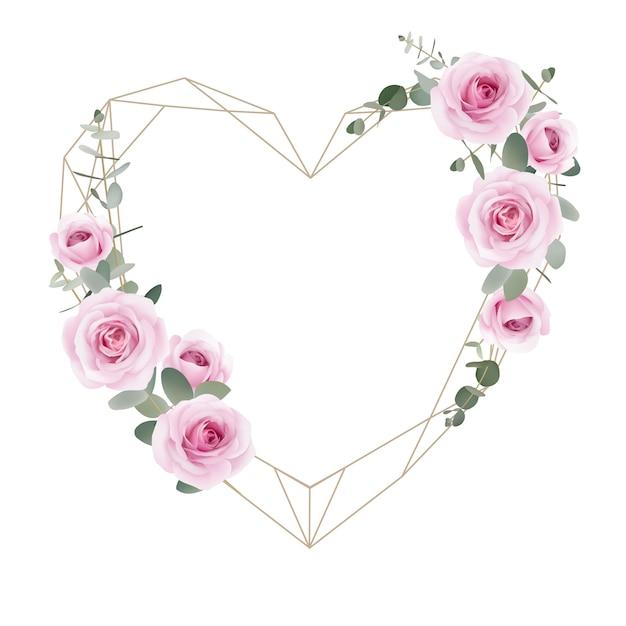 Рамка любовь фон цветочные розы и листья эвкалипта Premium векторы