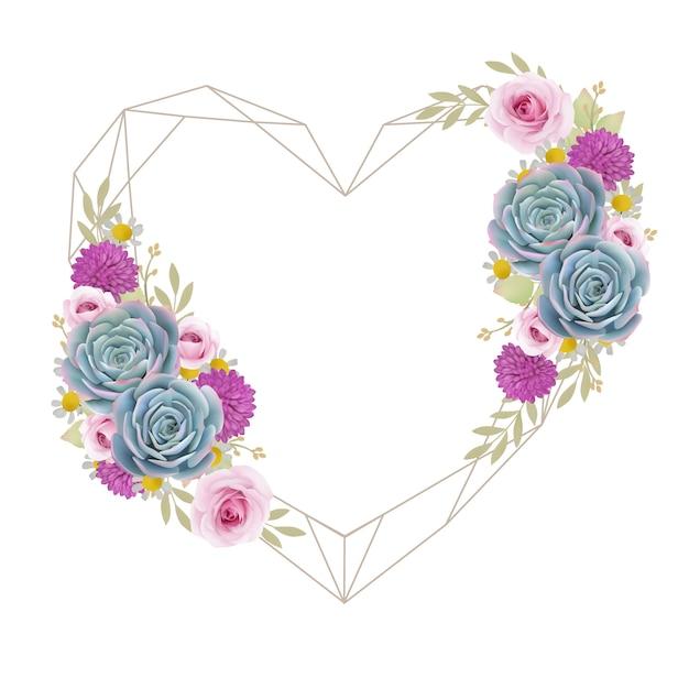 花のバラと多肉植物の美しい愛フレームの背景 Premiumベクター