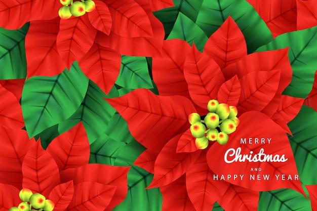 ポテンセチア植物のメリークリスマス背景ベクトル Premiumベクター