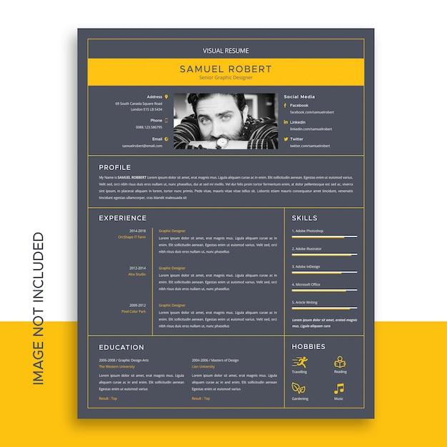 Визуальный шаблон резюме Premium векторы