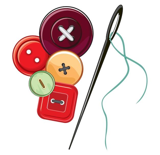 針とボタン Premiumベクター