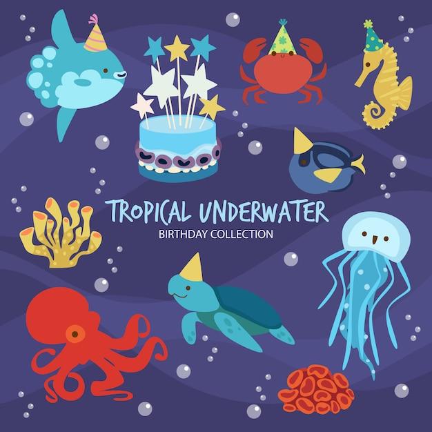 熱帯の水中誕生日 Premiumベクター