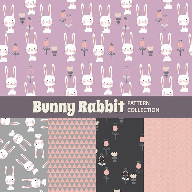 Кролик банни симпатичные радуга бесшовные шаблон Premium векторы
