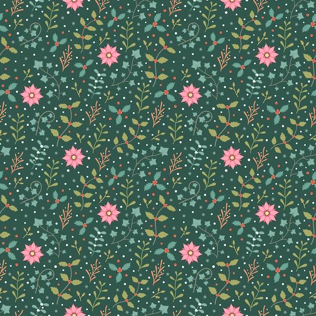 冬の植物とスノーフレークのシームレスなパターンベクトルの背景 Premiumベクター