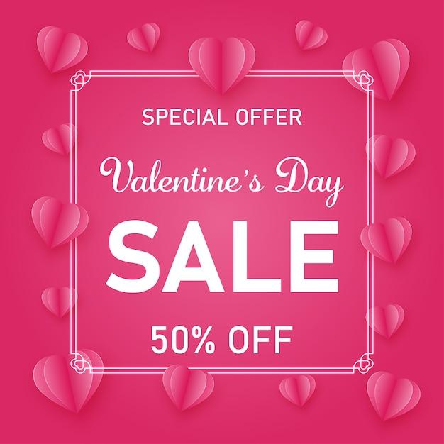 День святого валентина тема продажи продвижение розовый и белый баннер шаблон Premium векторы