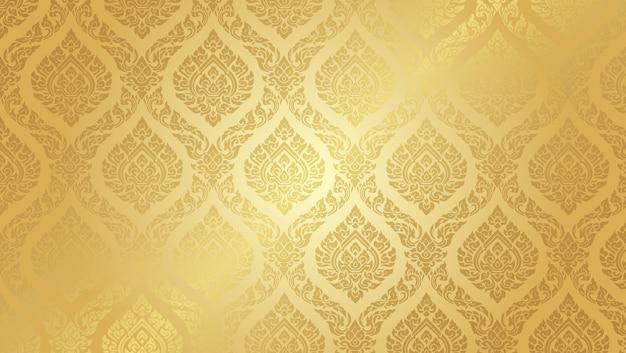 Высокий золотой фон тайского орнамента Premium векторы