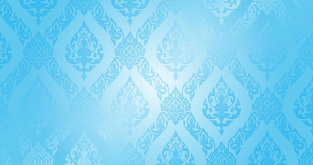 Тайский узор голубой фон Premium векторы