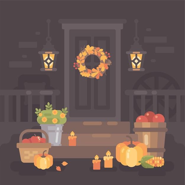 秋のポーチは、ランタン、野菜、葉で飾られています。 Premiumベクター