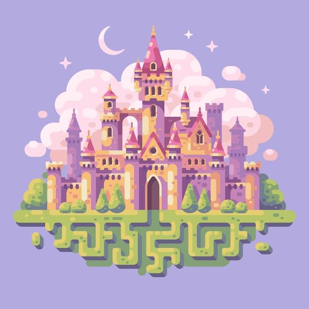 おとぎ話の王女の城のフラットイラストファンタジーの風景の背景