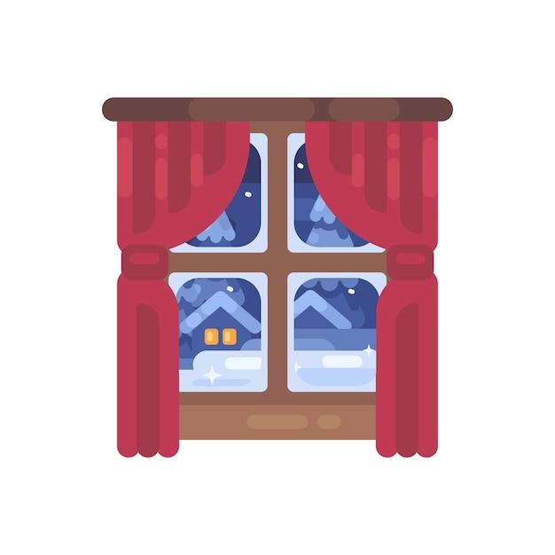 赤いカーテンフラットイラストの冬の窓。クリスマスフラットアイコン Premiumベクター