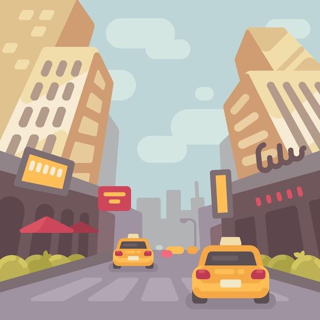 タクシーの車で近代的な街の通り Premiumベクター