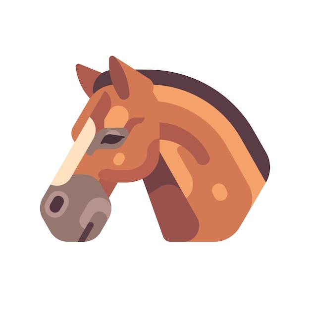 Коричневый конь голова сбоку плоский значок Premium векторы